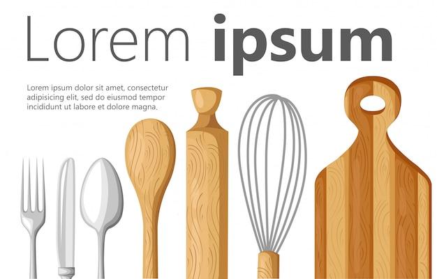 Koncepcja kuchni. tło wyposażenie kuchni. ilustracja. wnętrze kuchni z meblami, lodówką, kuchenką mikrofalową, kuchenką, nowoczesną kuchnią strona www i aplikacją mobilną