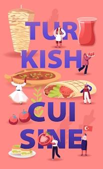 Koncepcja kuchni tureckiej. drobni bohaterowie płci męskiej i żeńskiej turyści i rdzenni mieszkańcy jedzący i gotujący tradycyjny indyk mąka shawarma plakat banner ulotka broszura. ilustracja wektorowa płaski kreskówka