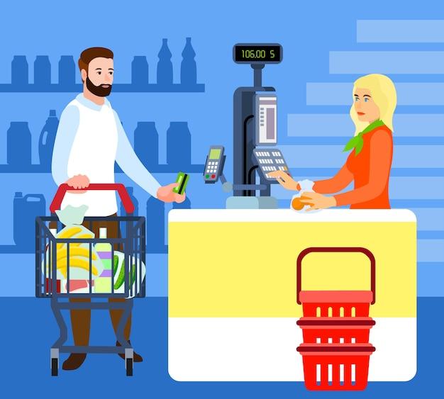 Koncepcja kupującego i kasjera rynku