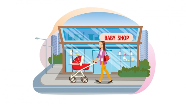 Koncepcja kupuje towary dla dzieci w sklepie dla dzieci
