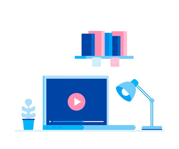 Koncepcja kursów online. miejsce pracy do pracy. nowoczesna ilustracja w stylu płaski