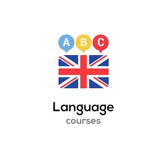 Koncepcja kursu logo szkoły języka angielskiego. wektor po angielsku mówić biegle projekt kursu.