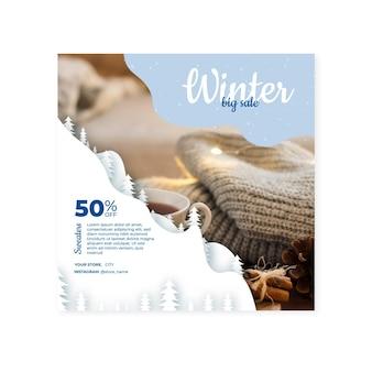 Koncepcja kwadratu ulotki zima