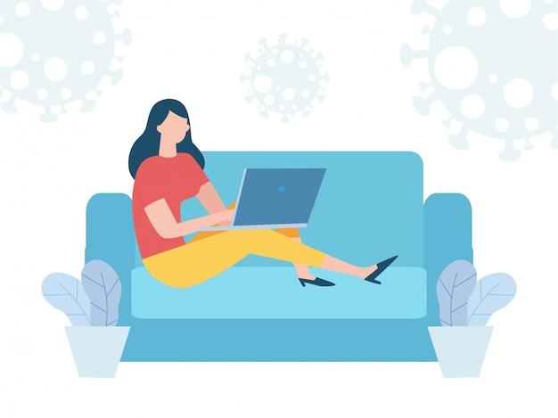 Koncepcja kwarantanny koronawirusa. kobieta pracuje w domu. kobieta siedzi na kanapie lub kanapie i pracuje na laptopie. zapobiega infekcjom rozprzestrzeniać odizolowywającego na tło ilustraci