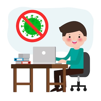 Koncepcja kwarantanny koronawirusa. mężczyzna pracujący w domu. mężczyzna pracujący na komputerze. zapobiega infekci podesłaniu odizolowywającemu na białej tło ilustraci
