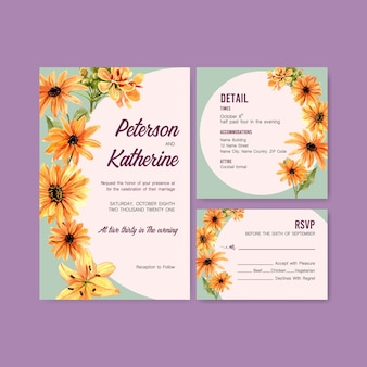Koncepcja kwiat lato dla karty ślub szablon akwarela