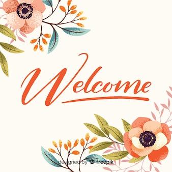 Koncepcja kwiatowy powitanie napis