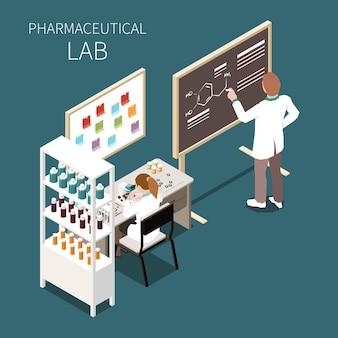 Koncepcja laboratorium farmaceutycznego z izometrycznymi symbolami nauki i medycyny