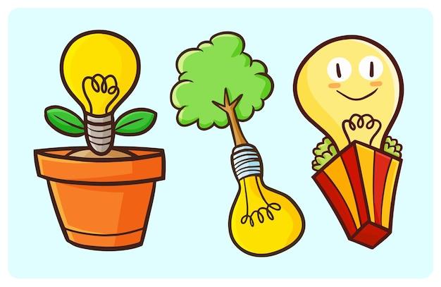 Koncepcja lampy śmieszne żarówki ekologiczne w stylu bazgroły
