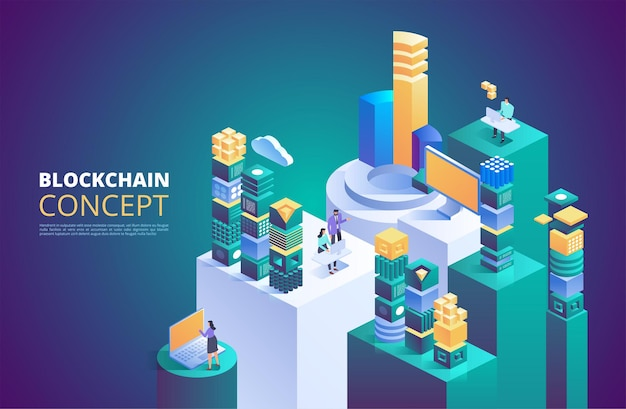 Koncepcja łańcucha bloków. izometryczne bloki cyfrowe. łańcuch krypto