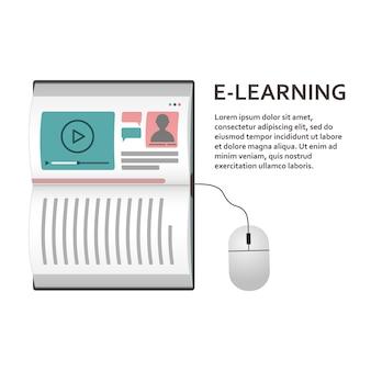 Koncepcja laptopa w formie książki do nauki na odległość. e-learning.