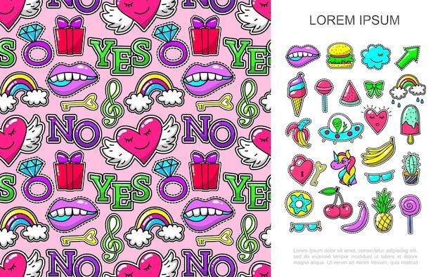 Koncepcja łatek pop-artu z jasnymi naklejkami z kreskówek i bezszwowym wzorem kolorowych odznaki ilustracji,