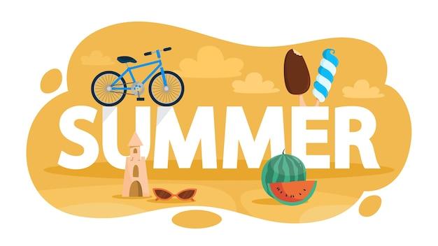 Koncepcja lato. czas na wakacje i wakacje. lody