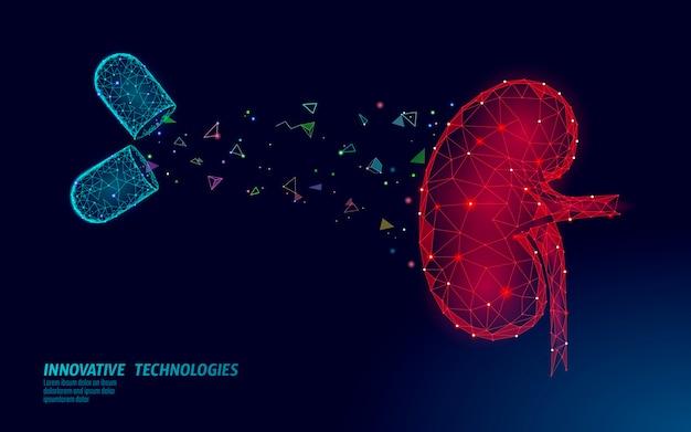 Koncepcja leczenia medycyny ludzkiej nerek. leczenie pomocy medycznej. szablon plakatu zapobiegania rakowi brzucha układu moczowego. pigułka z apteki