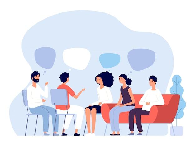 Koncepcja leczenia uzależnień. terapia grupowa, osoby doradzające psychologom, osoby na sesjach psychoterapeutycznych. grafika wektorowa
