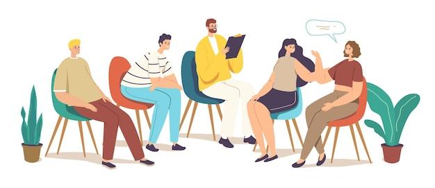 Koncepcja leczenia uzależnień terapii grupowej. porady dotyczące postaci z psychologiem podczas sesji psychoterapeutycznej. lekarz psycholog doradztwo z chorymi pacjentami. ilustracja wektorowa kreskówka ludzie