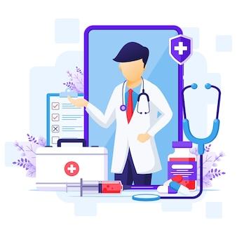 Koncepcja lekarza online, ilustracja pomocy medycznej online