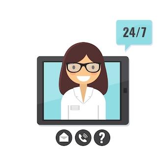 Koncepcja lekarza online. konsultacja z pacjentem za pośrednictwem komputera typu tablet, aplikacja wsparcia medycznego.