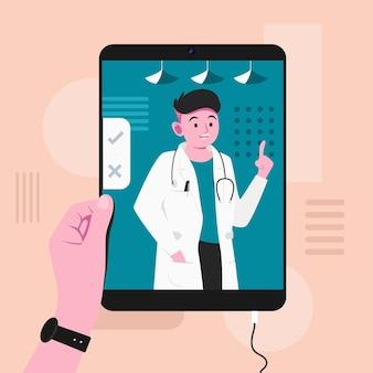 Koncepcja lekarza online w płaskiej konstrukcji