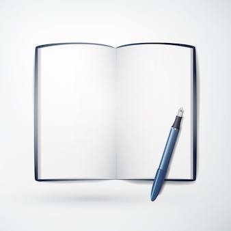 Koncepcja lekkiej papeterii z realistycznym pustym notatnikiem i niebieskim ołówkiem na białym tle