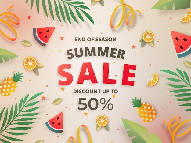 Koncepcja letniej dużej sprzedaży na koniec sezonu z motywem świeżych owoców fruit