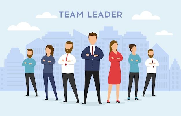 Koncepcja lidera zespołu. koncepcja przywództwa z postaciami ludzi biznesu