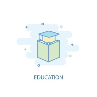 Koncepcja linii edukacji. prosta linia ikona, kolorowa ilustracja. symbol edukacji płaska. może być używany do ui/ux