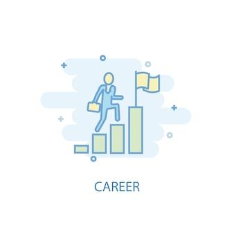 Koncepcja linii kariery. prosta linia ikona, kolorowa ilustracja. kariera symbol płaska konstrukcja. może być używany do ui/ux