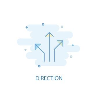 Koncepcja linii kierunkowej. prosta linia ikona, kolorowa ilustracja. kierunek symbol płaska konstrukcja. może być używany do ui/ux