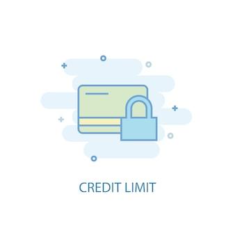 Koncepcja linii limitu kredytowego. prosta linia ikona, kolorowa ilustracja. limit kredytowy symbol płaska konstrukcja. może być używany do ui/ux