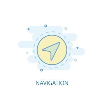 Koncepcja linii nawigacji. prosta linia ikona, kolorowa ilustracja. płaska konstrukcja symbolu nawigacji. może być używany do ui/ux