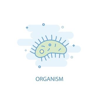Koncepcja linii organizmu. prosta linia ikona, kolorowa ilustracja. symbol organizmu płaska konstrukcja. może być używany do ui/ux