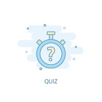 Koncepcja linii quizu. prosta linia ikona, kolorowa ilustracja. quiz symbol płaska konstrukcja. może być używany do ui/ux