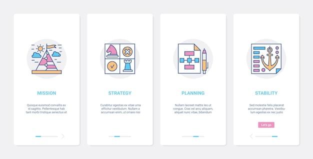 Koncepcja linii strategii sukcesu biznesowego ux, zestaw ekranów strony aplikacji mobilnej onboarding ui