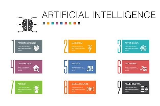 Koncepcja linii sztucznej inteligencji infografika 10 opcji. uczenie maszynowe, algorytm, głębokie uczenie, proste ikony sieci neuronowej