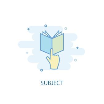 Koncepcja linii tematu. prosta linia ikona, kolorowa ilustracja. temat symbol płaska konstrukcja. może być używany do ui/ux