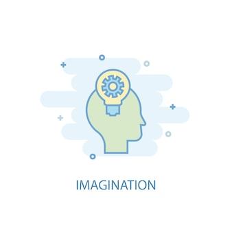 Koncepcja linii wyobraźni. prosta linia ikona, kolorowa ilustracja. wyobraźnia symbol płaska konstrukcja. może być używany do ui/ux