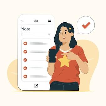 Koncepcja lista mobilna uwaga na białym tle