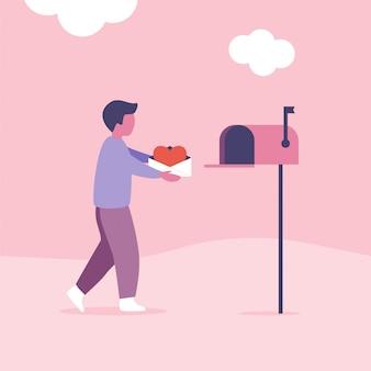 Koncepcja listów miłosnych na walentynki. człowiek wysyła lub odbiera pocztę za pomocą skrzynki pocztowej