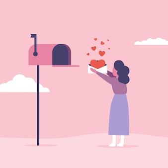Koncepcja listów miłosnych na walentynki. kobieta wysyła lub odbiera pocztę ze skrzynki pocztowej