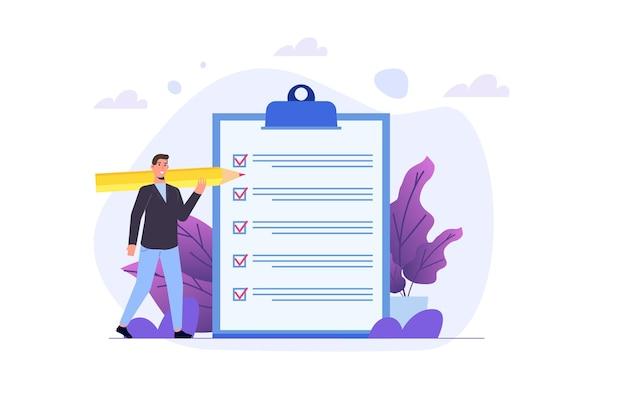 Koncepcja listy kontrolnej biznesmen. sprawdzanie sukcesu zadania biznesowego, pole wyboru kwestionariusza. ilustracja wektorowa.
