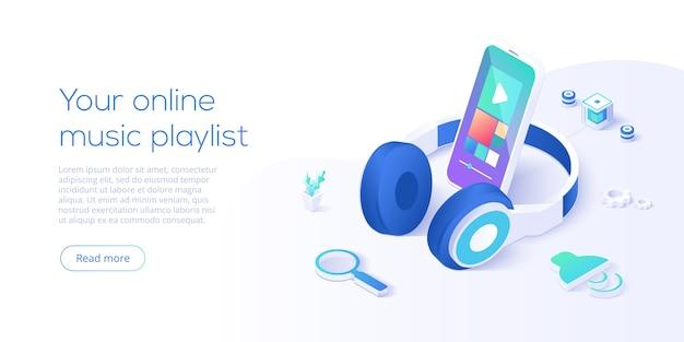 Koncepcja listy odtwarzania muzyki online na izometrycznej stronie docelowej