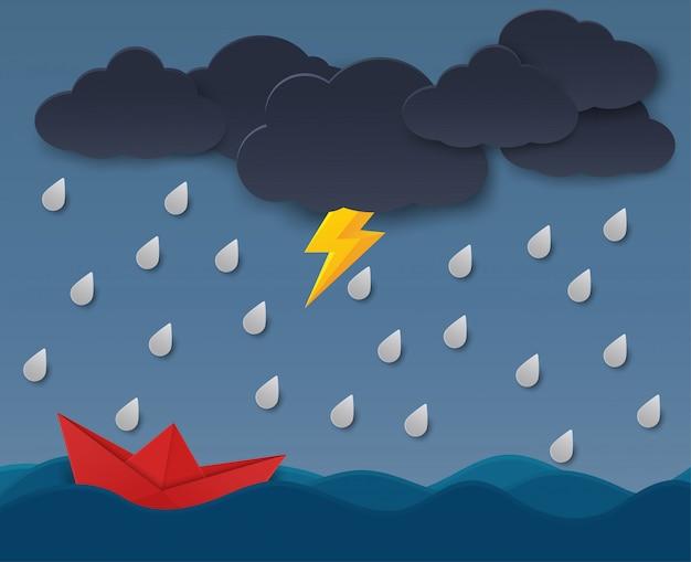 Koncepcja łodzi papierowych stojących przed przeszkodami z chmur deszczowych.