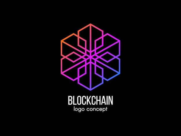 Koncepcja logo blockchain. nowoczesna technologia . logotyp kostki w kolorze. etykieta kryptowaluty i bitcoina. ikona pieniędzy cyfrowych. ilustracja.