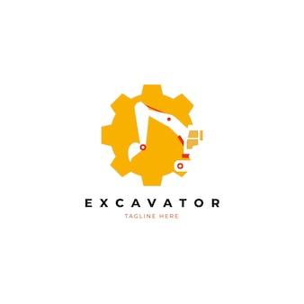 Koncepcja logo budowy koparki