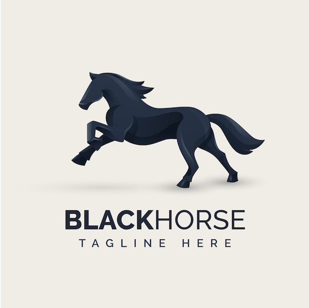 Koncepcja logo czarny koń