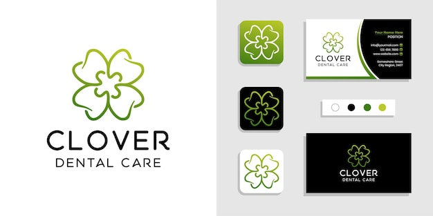Koncepcja logo dentystycznego koniczyny styl liniowy i szablon projektu wizytówki