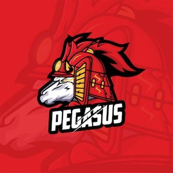 Koncepcja logo esport pegaza samuraja