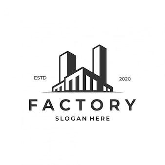 Koncepcja logo fabryki, nowoczesny szablon projektu.