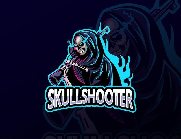 Koncepcja logo gry e-sportowej maskotki reaper dla streamerów, czaszki, strzelanki